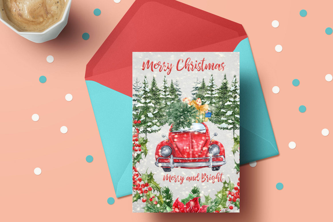 Watercolor Christmas Cars Clipart Red Beetle Pine Forest By