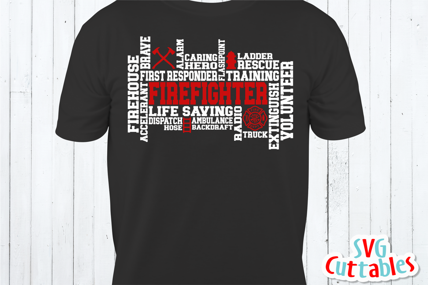 Firefighter Word Art Cut File By Svg Cuttables Thehungryjpeg Com