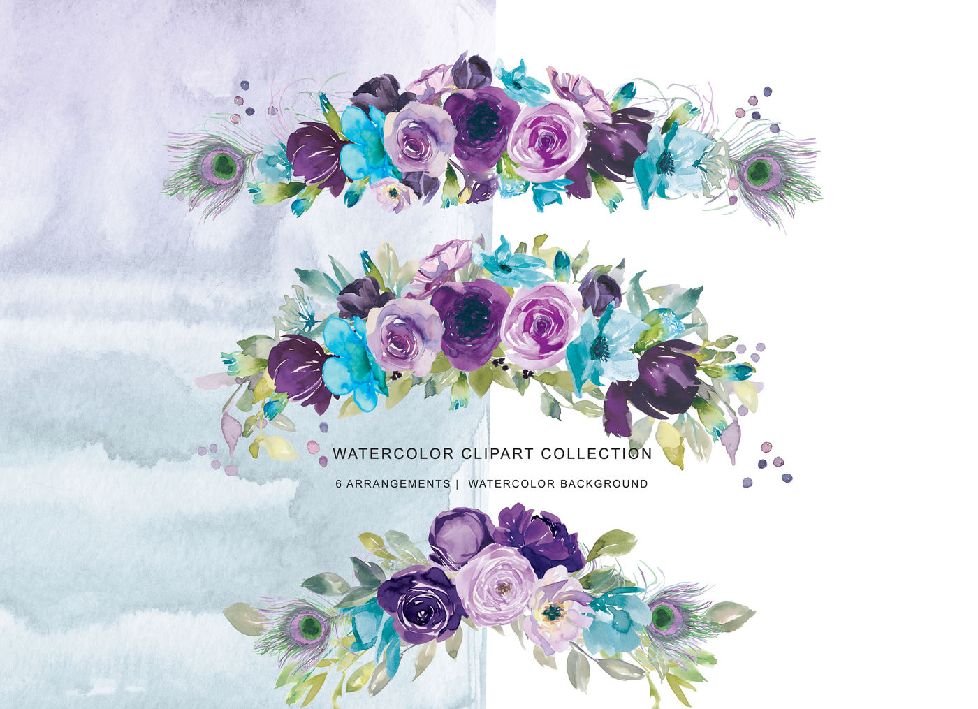 Watercolor Purple Lilac And Turquoise Blue Floral Arrangements Clipart By Patishop Art Thehungryjpeg Com
