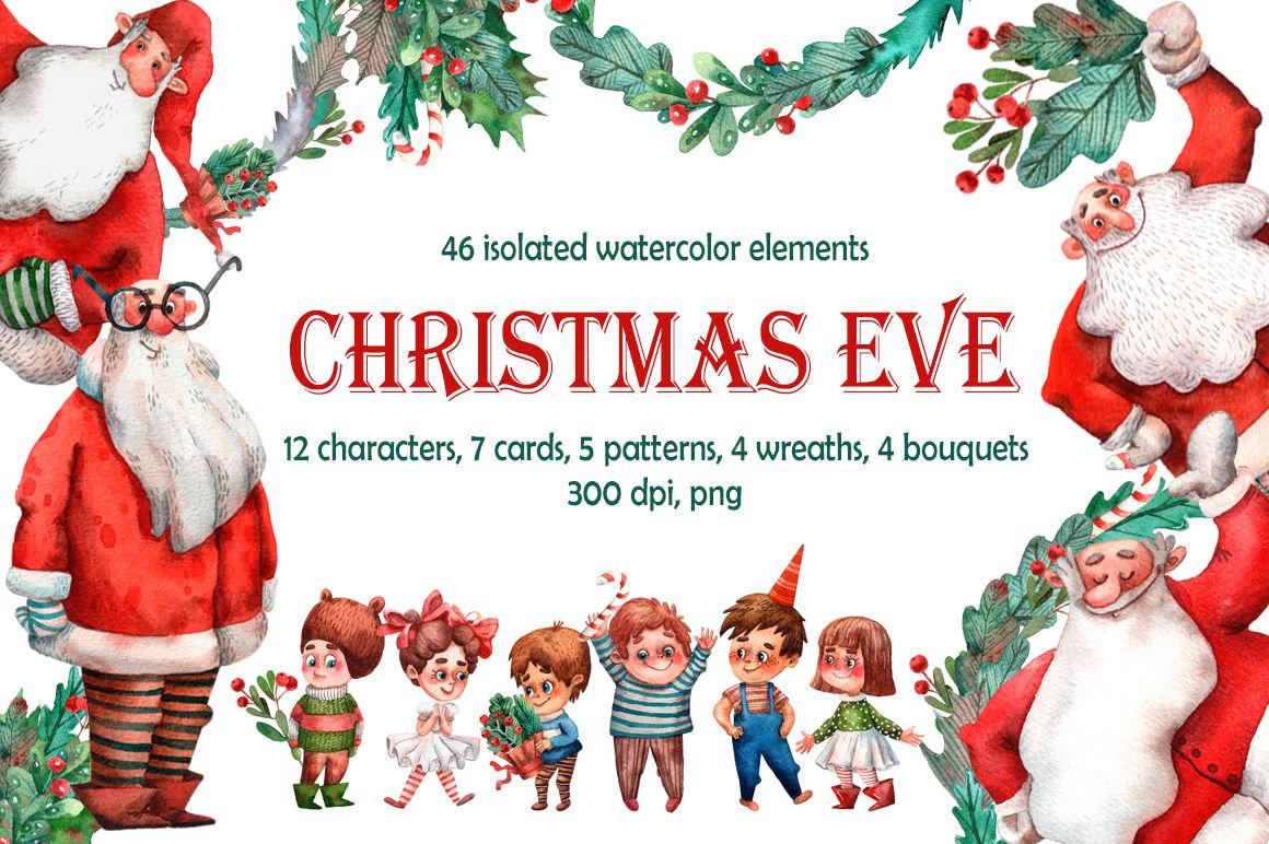 Christmas Eve Watercolor Clip Art Set By Mashamashastu