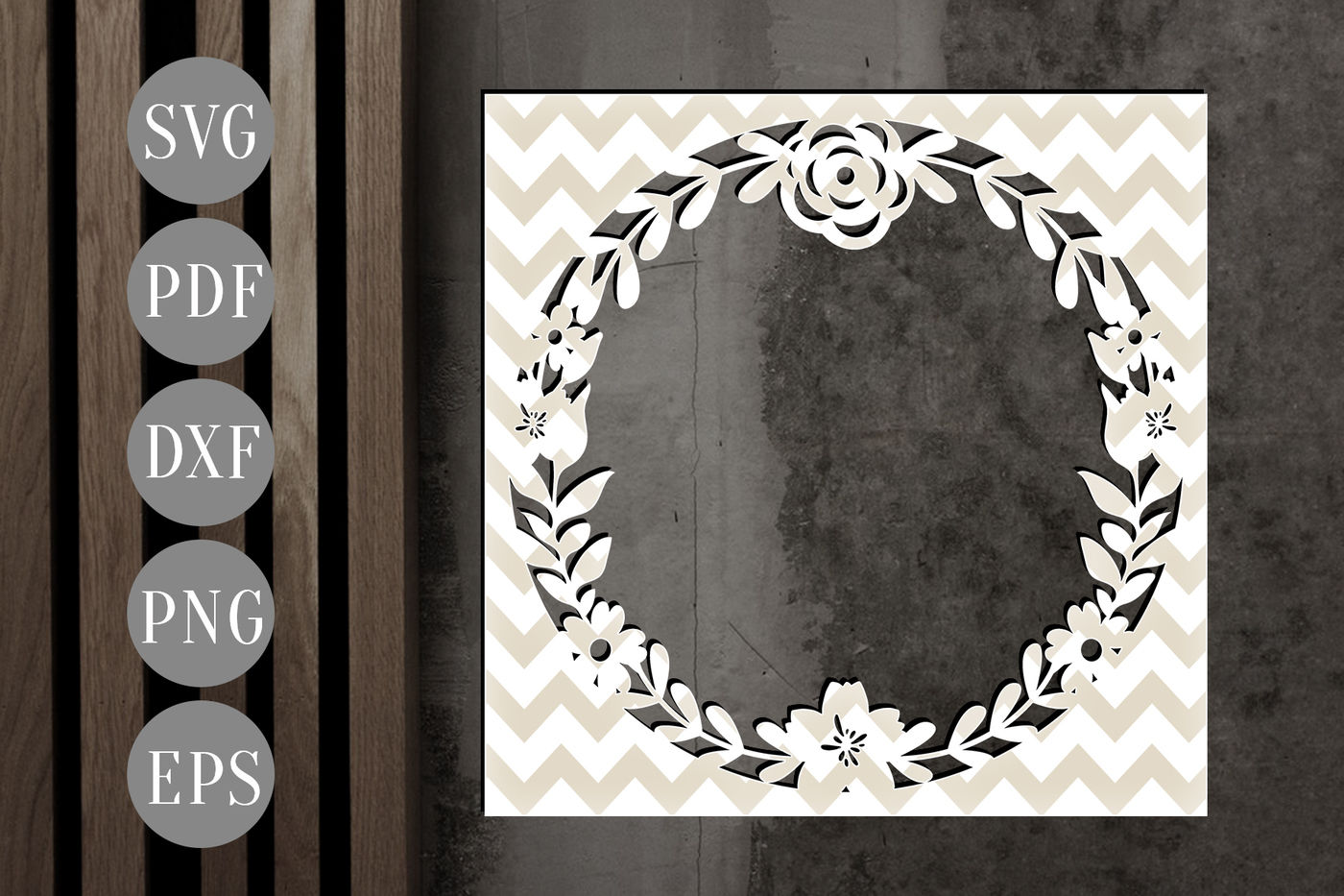 Floral Wreath Svg Flowers Frame Papercut Cutting File Dxf Pdf