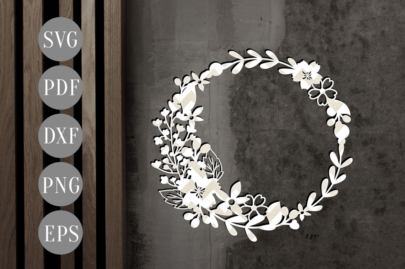 Floral Wreath Svg Papercut Template Flowers Cutting File Dxf
