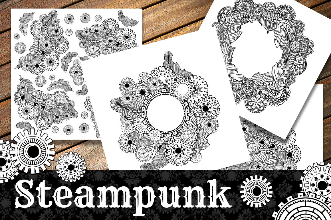 Steampunk Clipart Coloring Pages By Ilonitta Thehungryjpeg Com