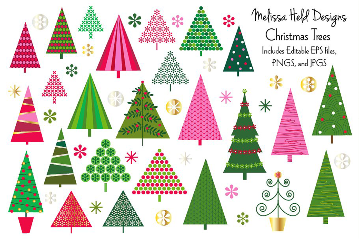 Christmas Trees Clipart By Melissa Held Designs Thehungryjpeg Com