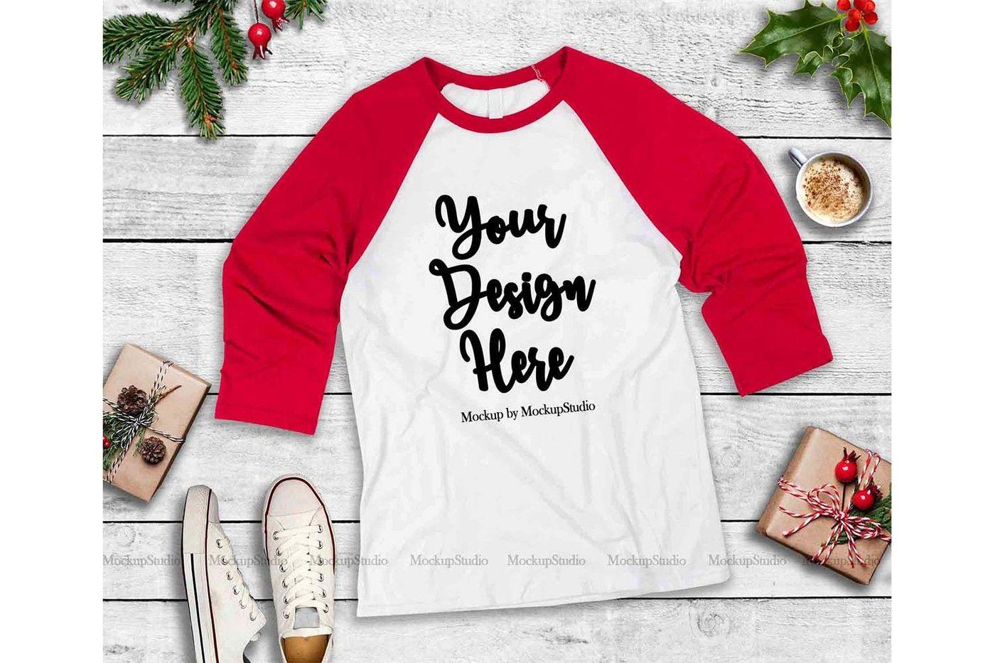Christmas Raglan Mockup Bundle 5 Baseball Shirt Flat Lays By