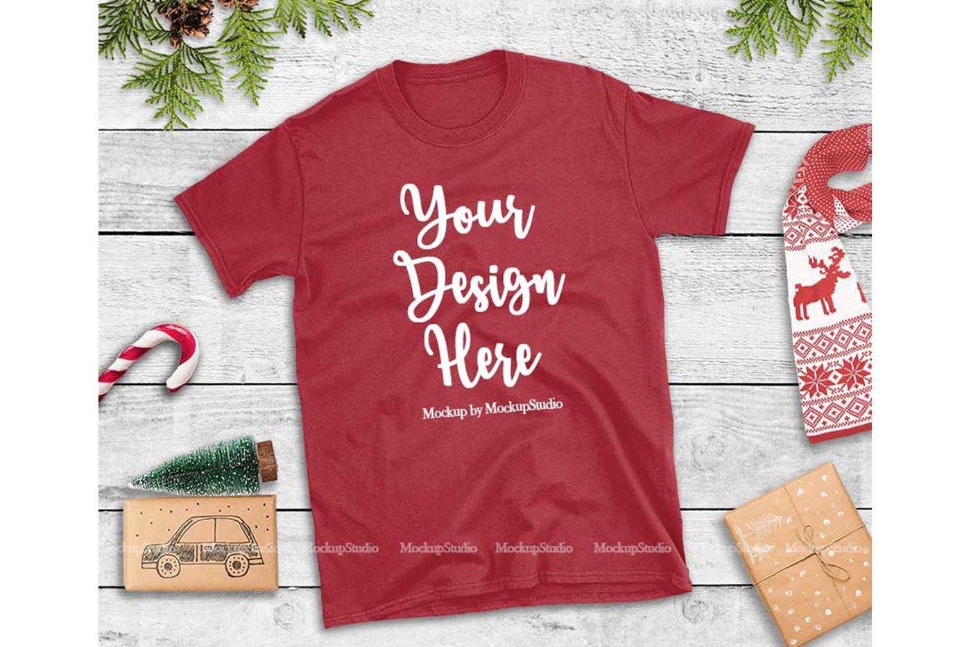 Red Christmas Tshirt Mockup Flat Lay Holiday Shirt Display By