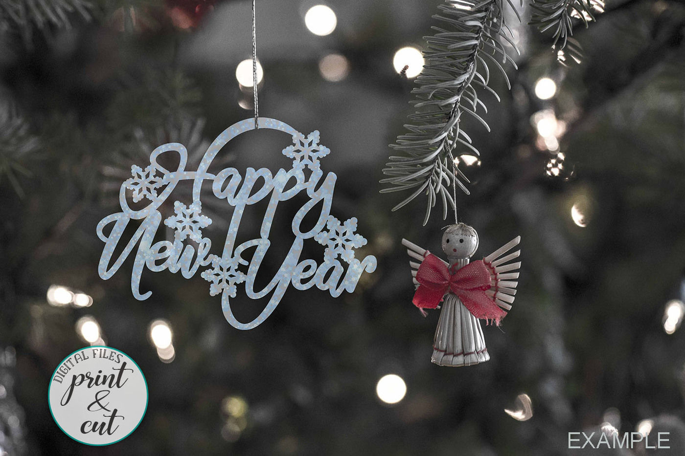 Christmas Hanging Ornament Merry Christmas Happy New Year Svg Dxf