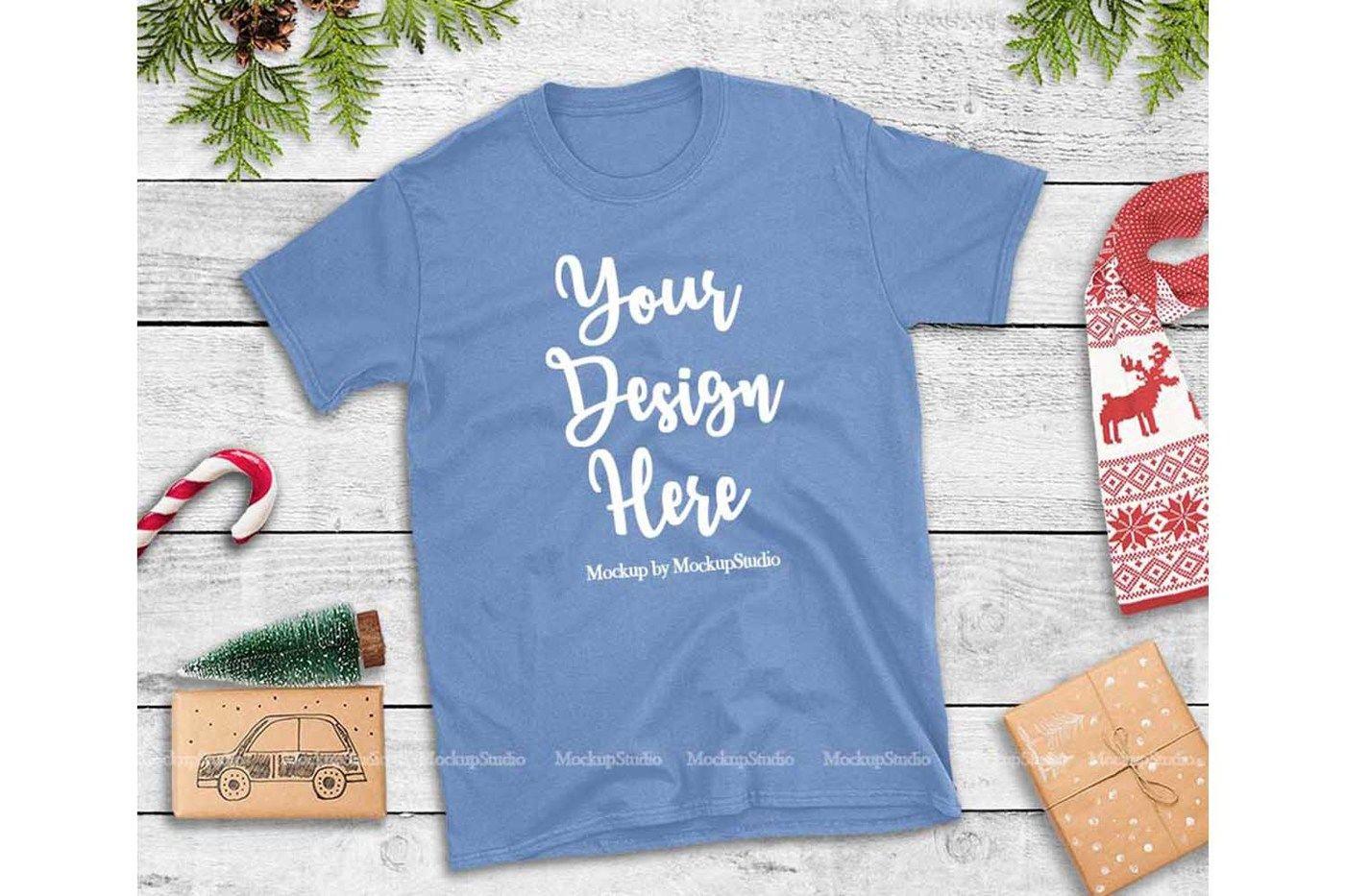 Carolina Blue Christmas Tshirt Mockup Holiday Tee Flat Lay By