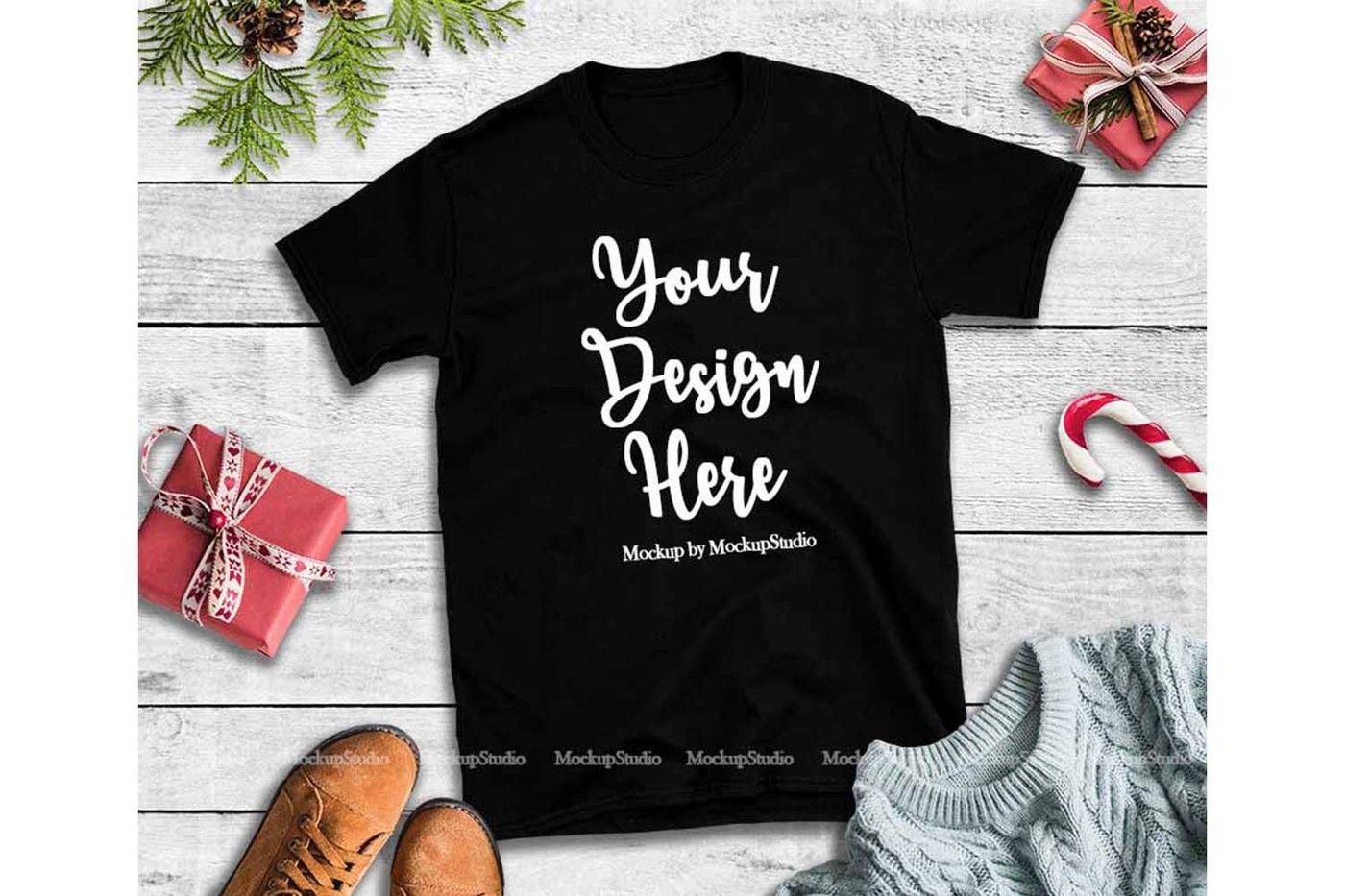 Christmas Tshirt Mockup Bundle 5 Colors Gildan 64000 Shirt By