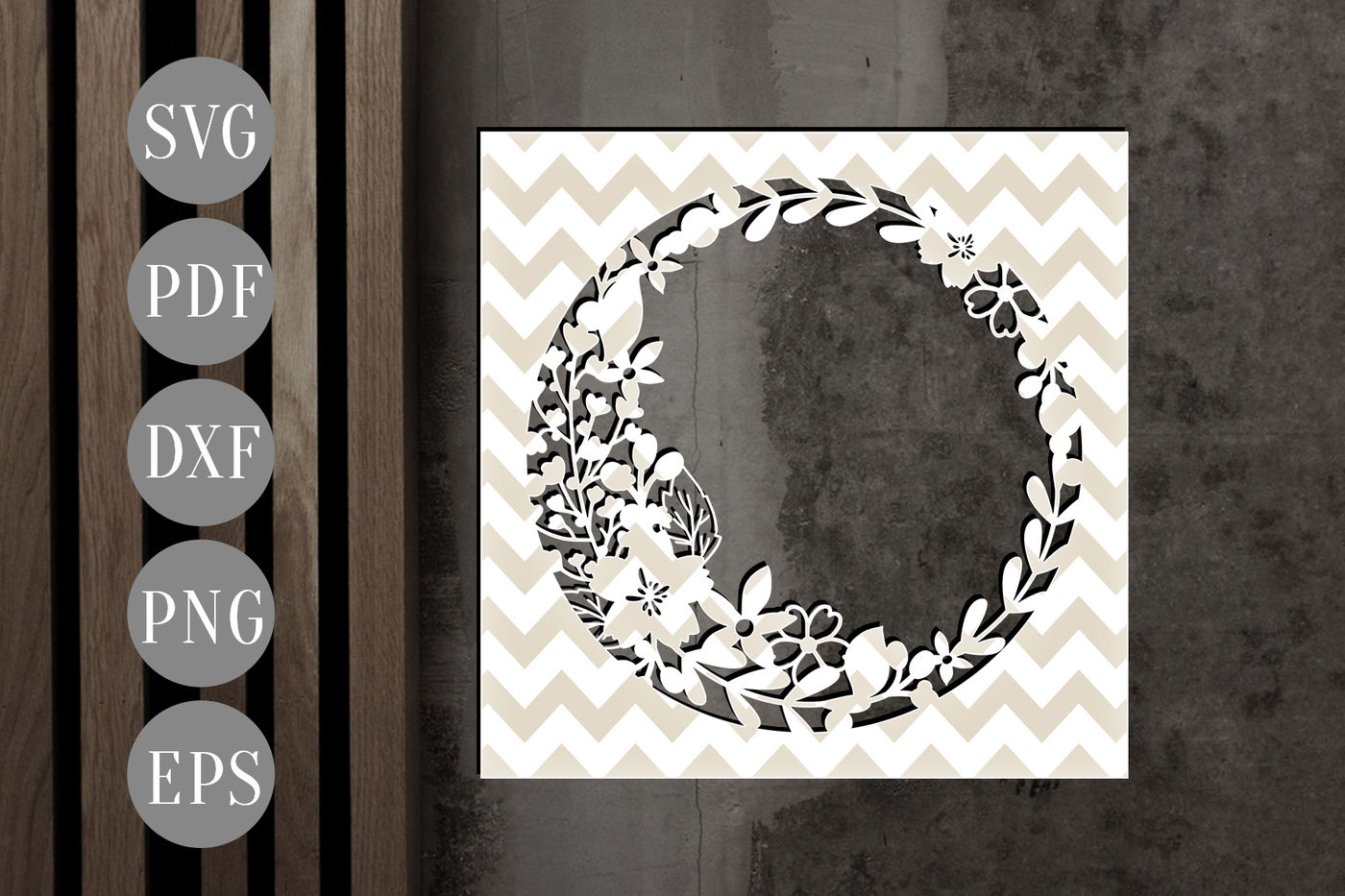 Floral Wreath Frame Papercut Template Flowers Cutting File Dxf