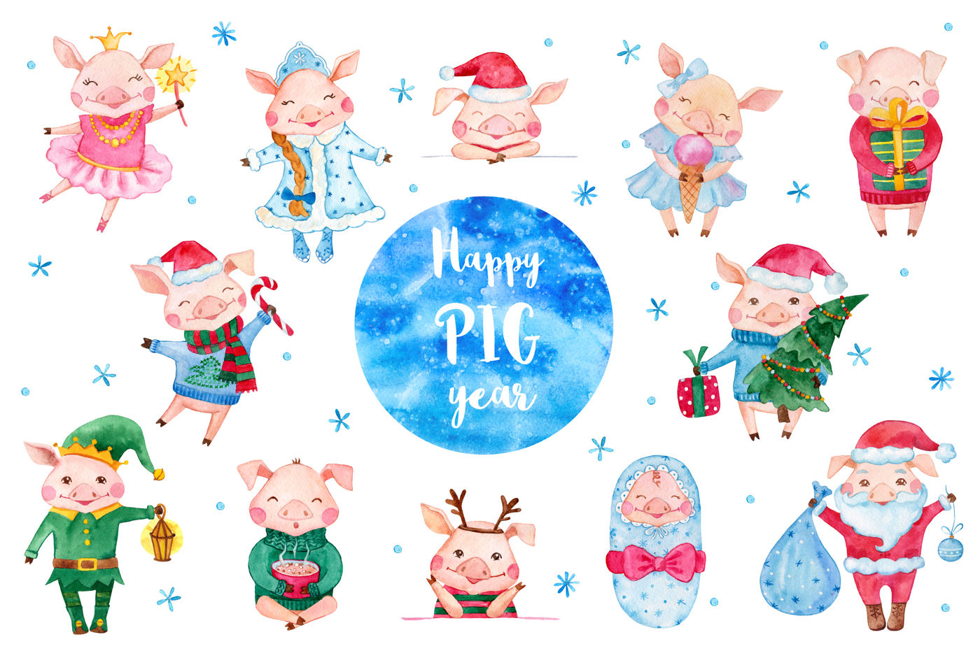 Cute Christmas Watercolor Pigs Collection By Romawka