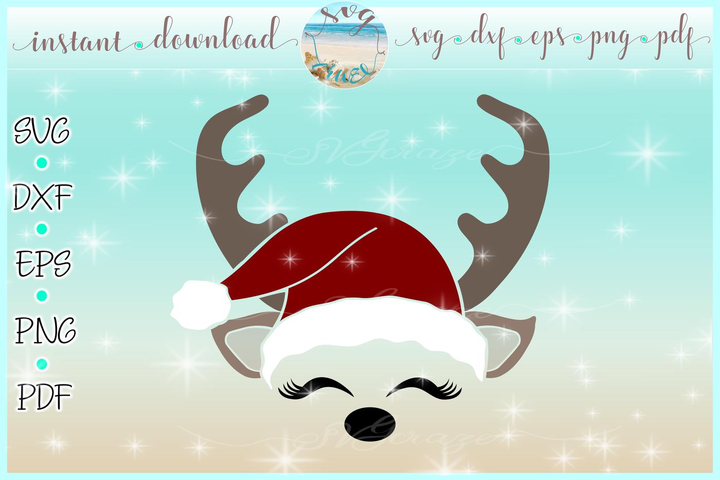 Reindeer Face With Santa Hat Christmas Deer Svg Dxf Eps Pdf Png By