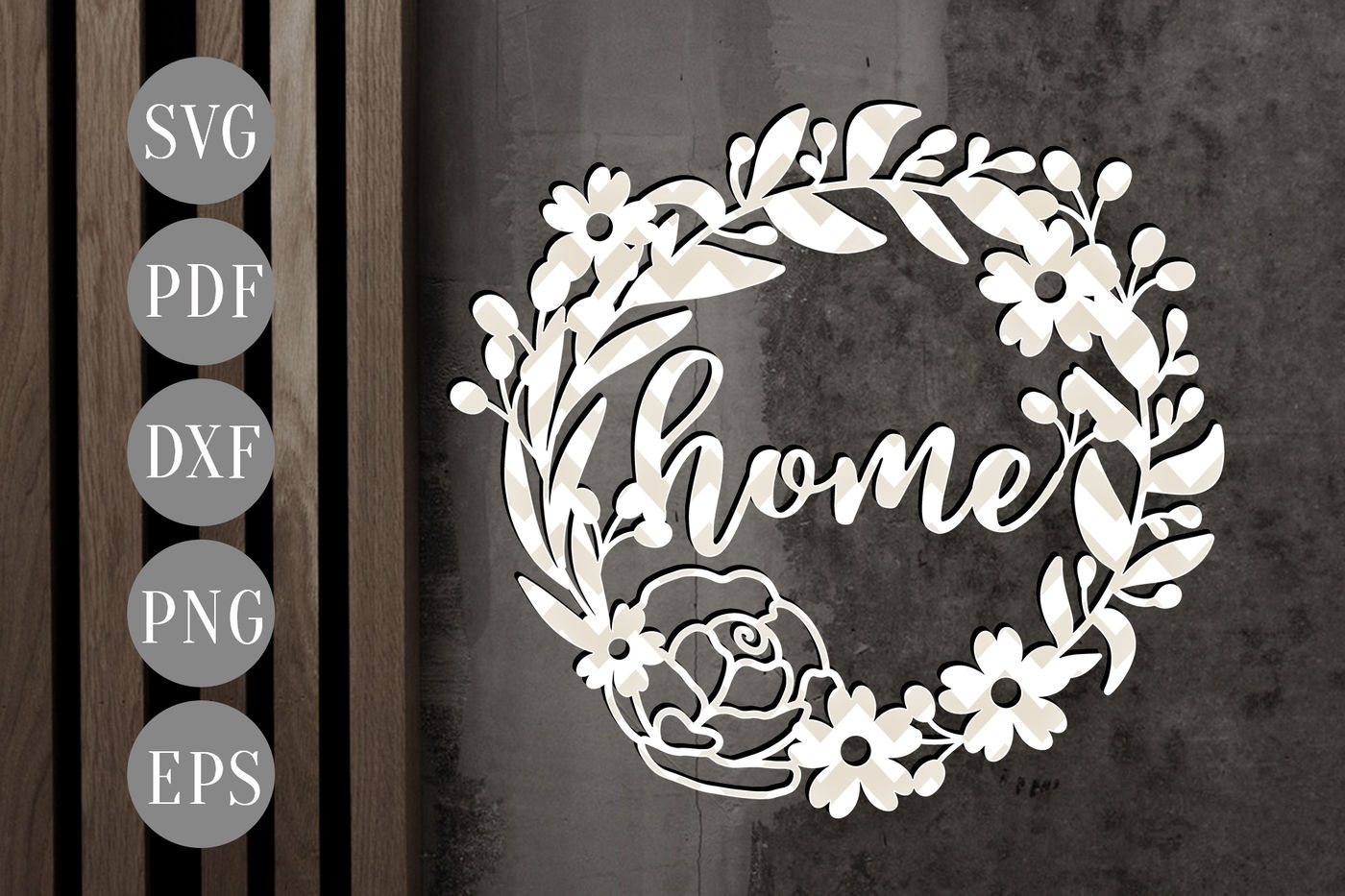 Home Floral Wreath Svg Papercut Template Flowers Cut File Dxf