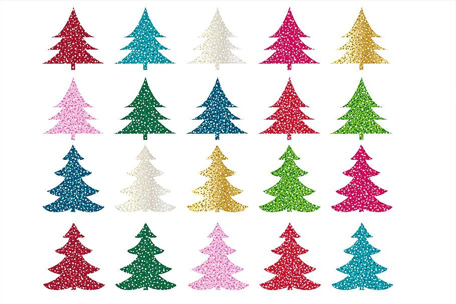 Glitter Christmas Trees Clipart By Melissa Held Designs