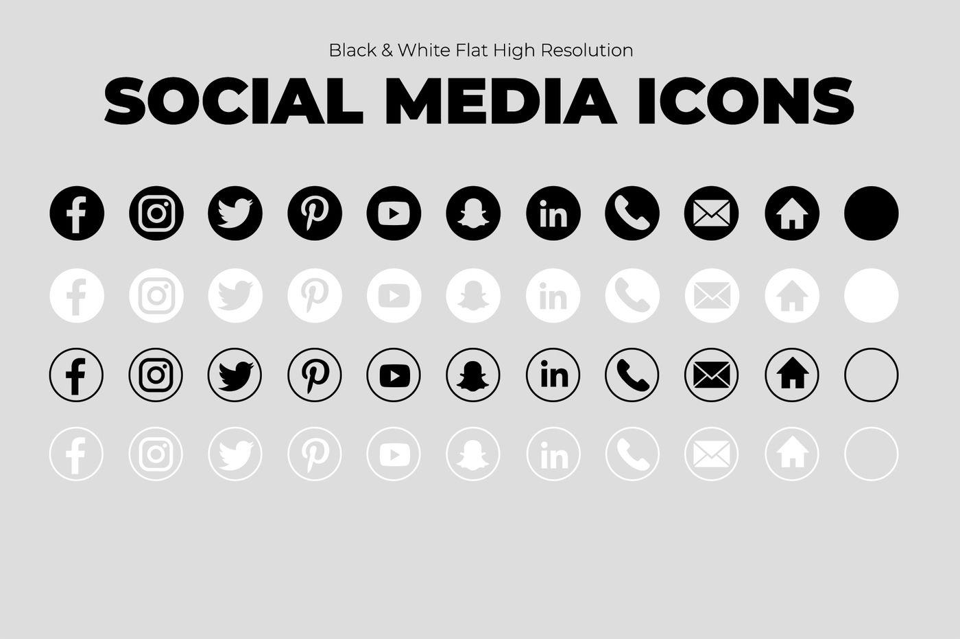 10 Black White Social Media Icons By Karajoann Thehungryjpeg Com