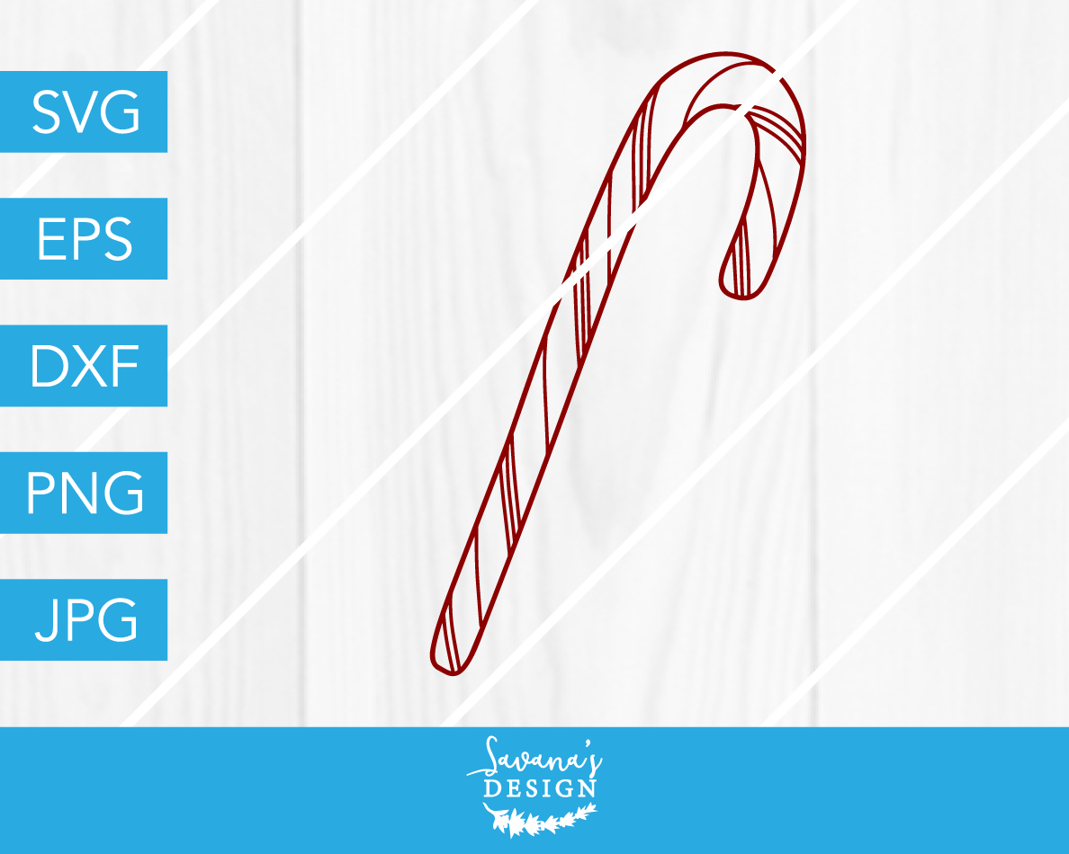 Candy Cane Christmas Svg Dxf Eps Jpg Cut File Cricut Silhouette
