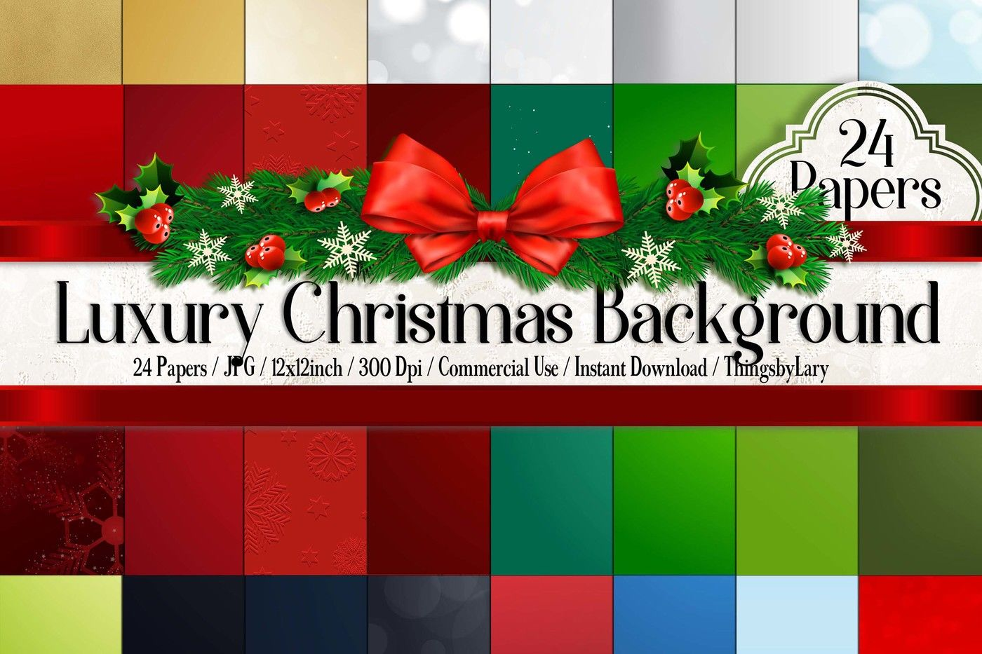 24 Luxury Christmas Background Digital Papers Gold Christmas By