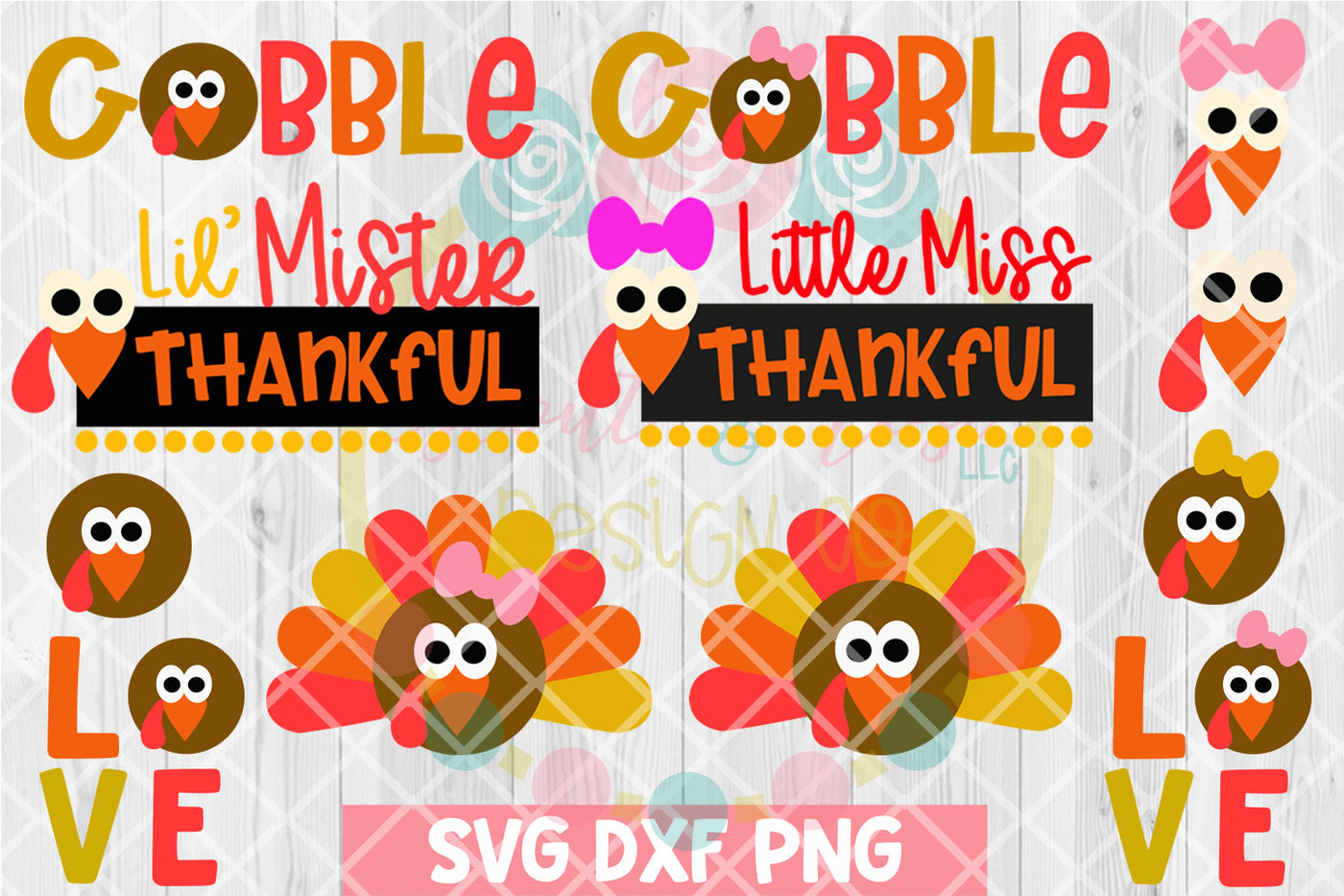 Thanksgiving Kids Turkey Bundle Svg Dxf Png 12 Cutting Files By