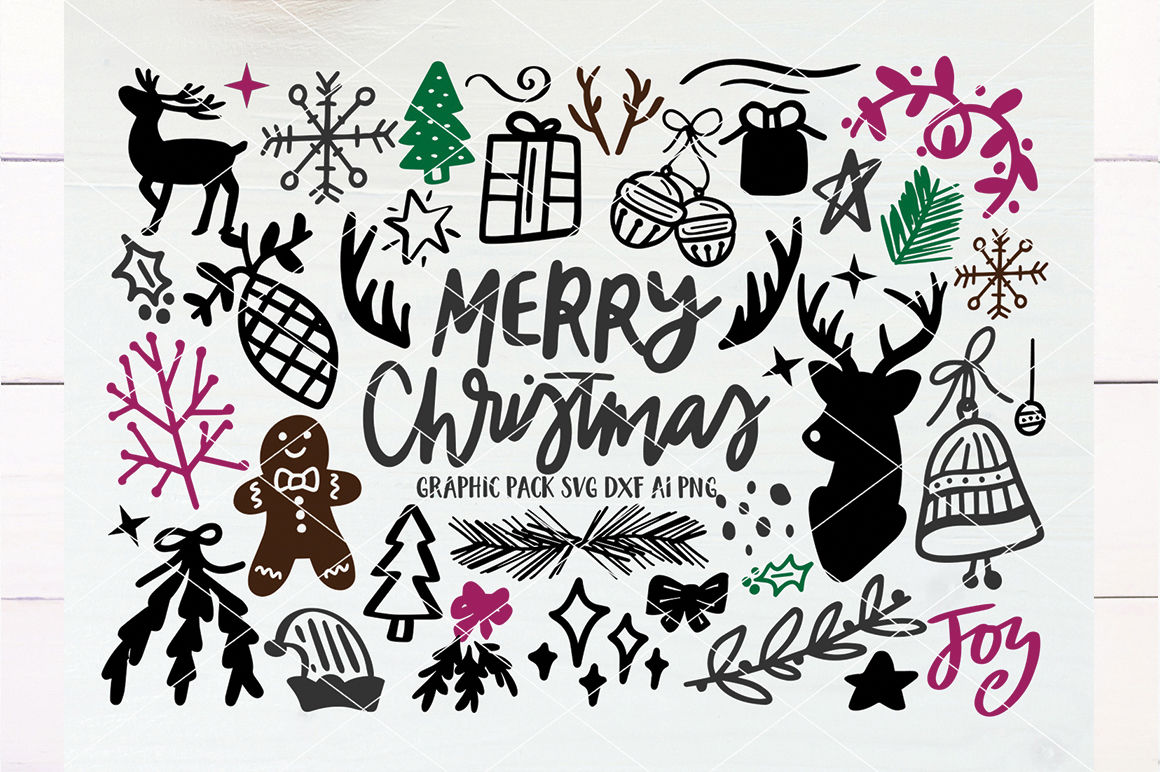 Merry Christmas Hand Drawn Graphics Pack Svg Dxf Ai Png By Svgfox