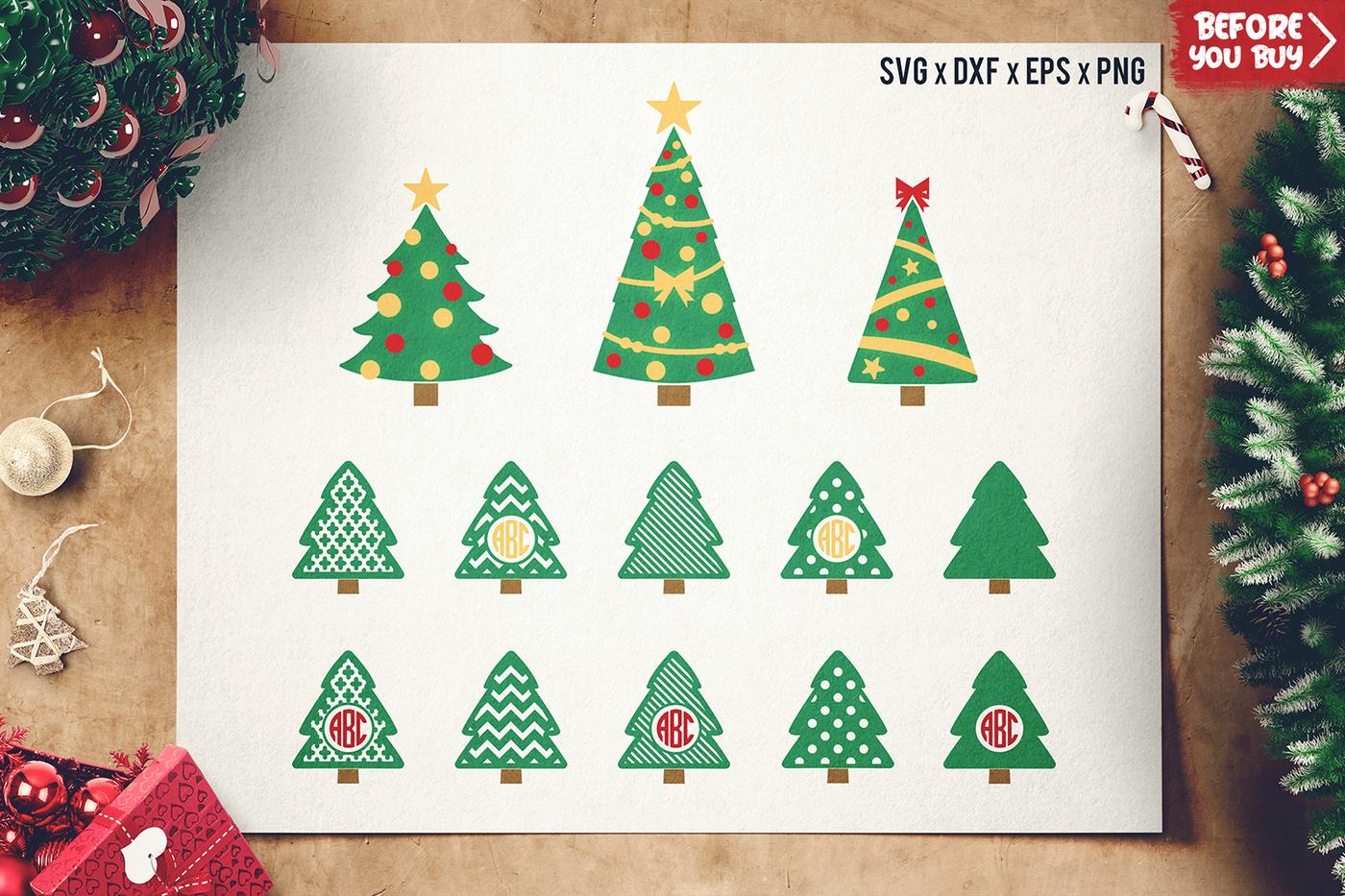 Christmas Tree Svg Cut Files Christmas Monogram Frame Svg By Sharpsvg Thehungryjpeg Com