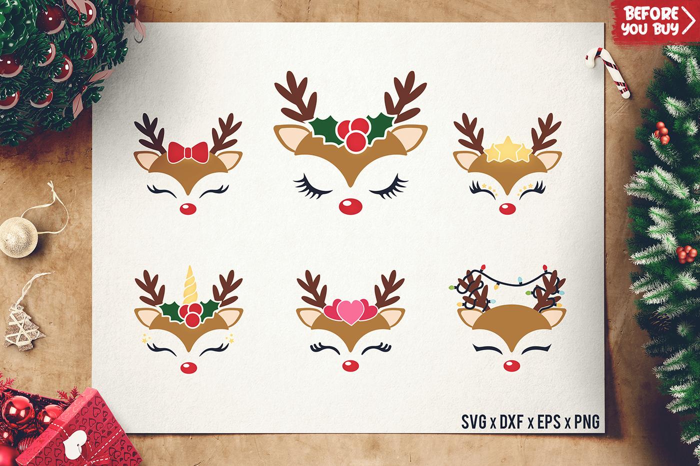 Reindeer Faces Svg Christmas Reindeer Cut Files Dxf By