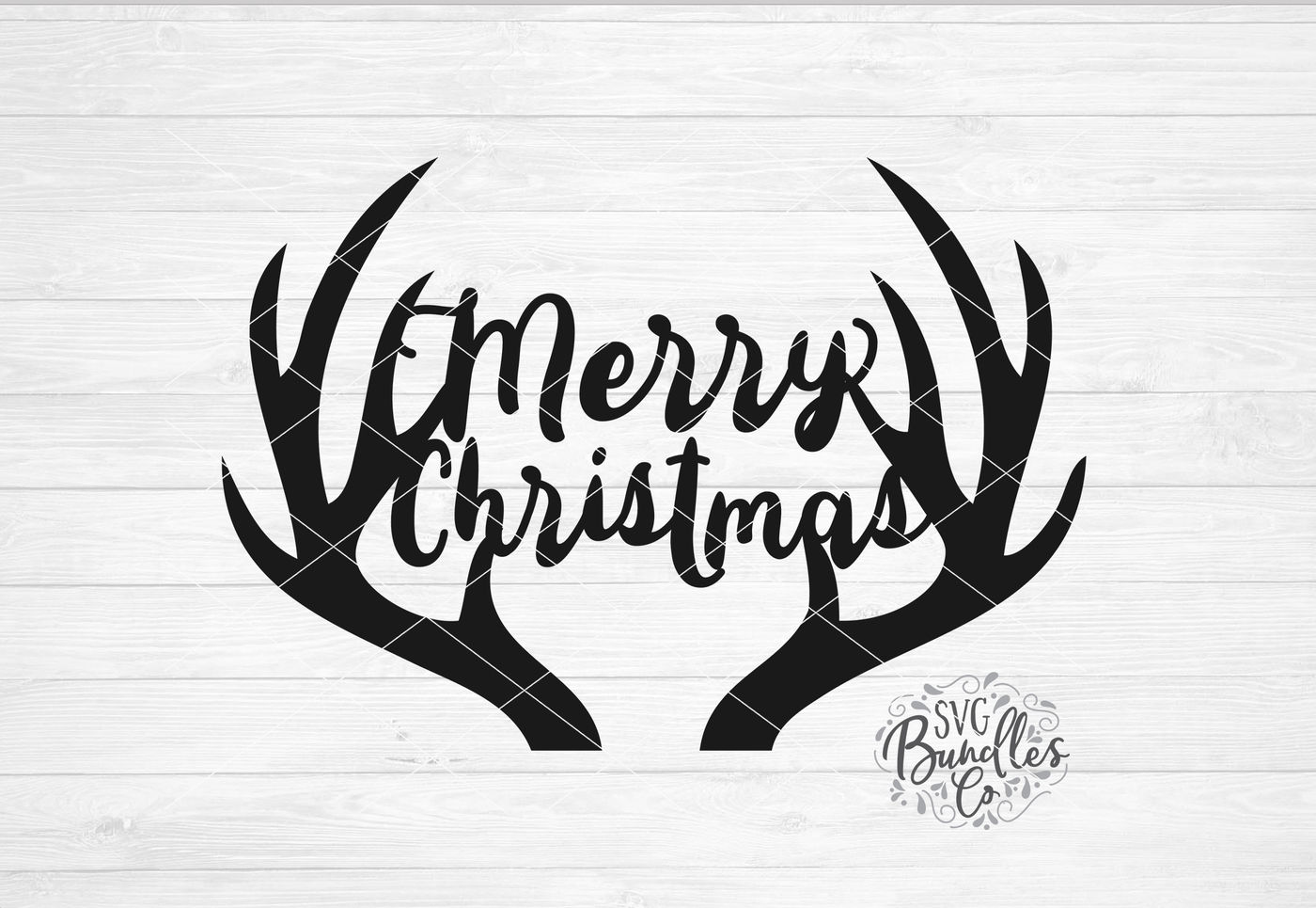 Merry Christmas Antlers Svg Dxf Png By Svgbundlesco