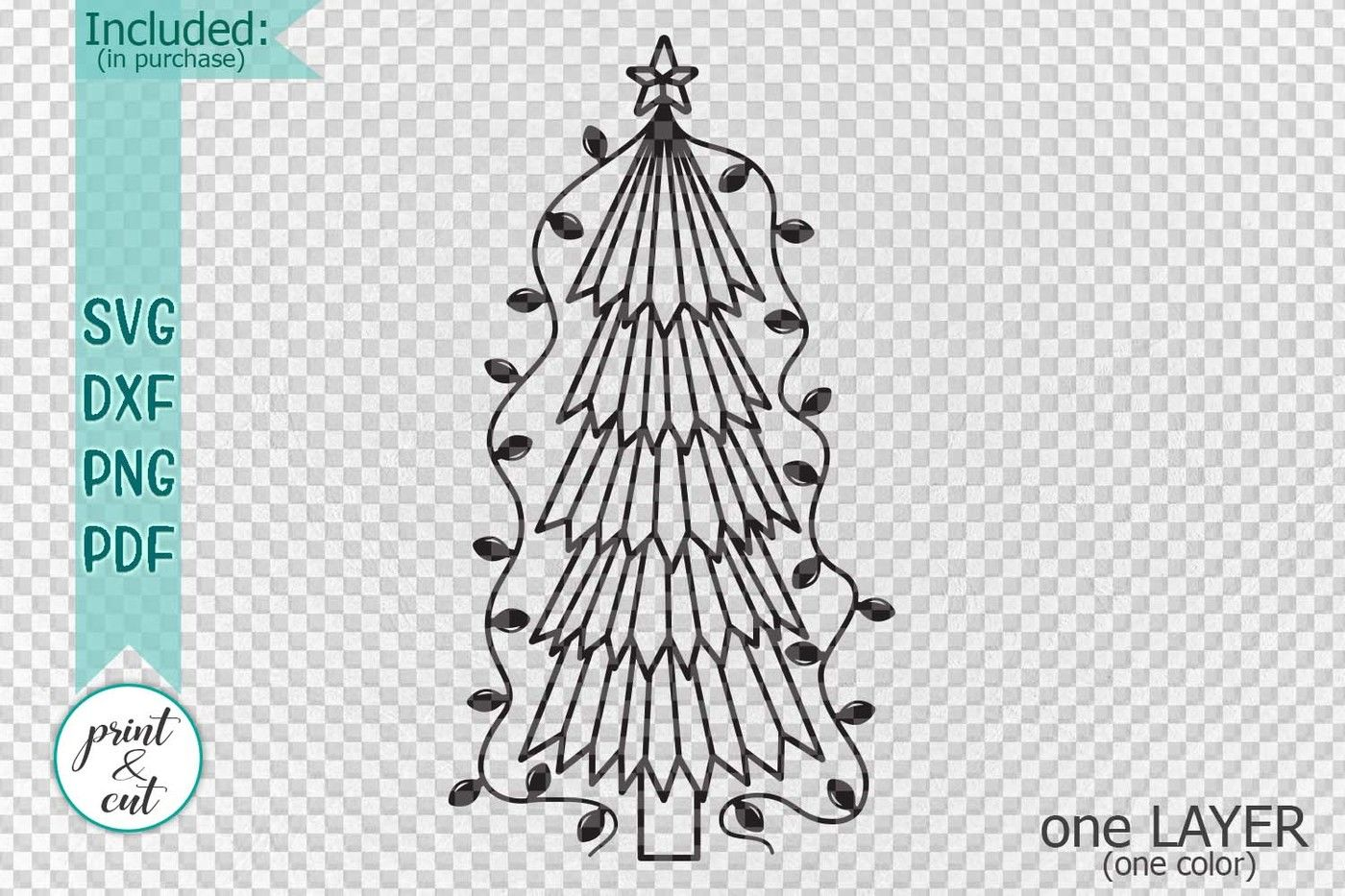 Primitive Christmas Tree Old Vintage Style Svg Dxf To Cut By
