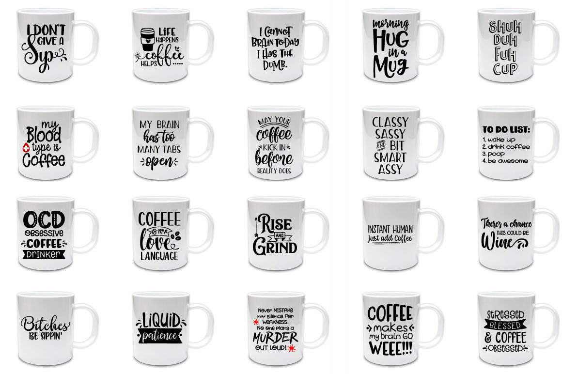 Coffee Quotes Bundle Svg Png Dxf Eps By Craft Pixel Perfect