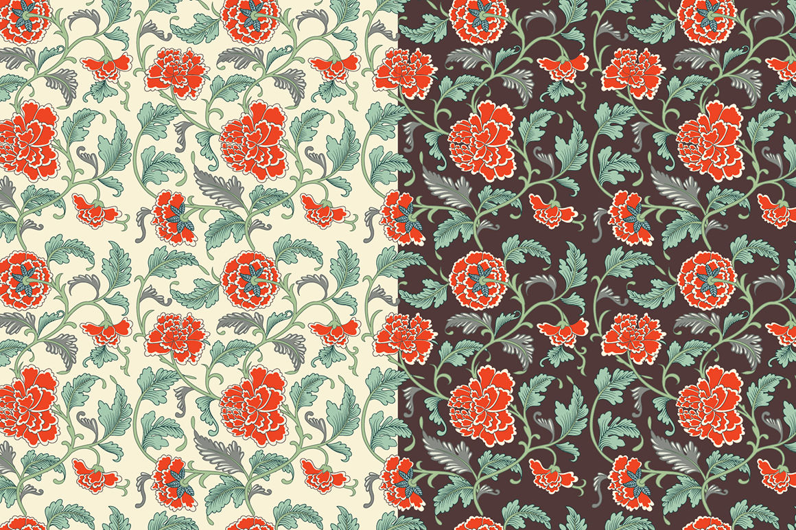 Floral Chinese Patterns And Cards By Mia Akimo Thehungryjpeg Com