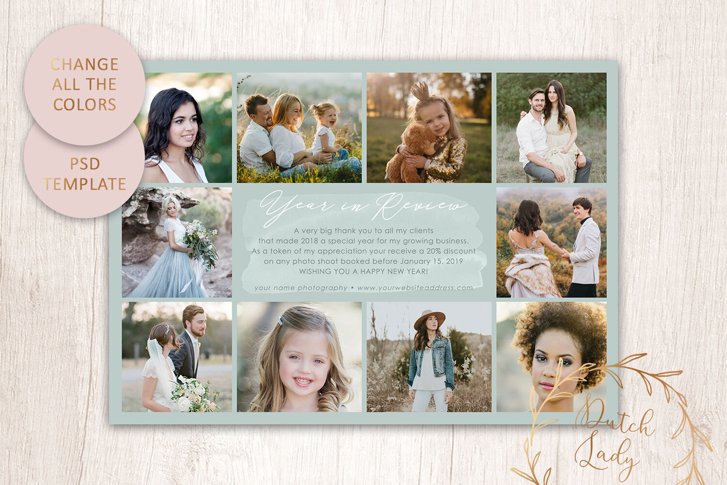 Psd Year In Review Photo Collage Card Template 3 By The Dutch