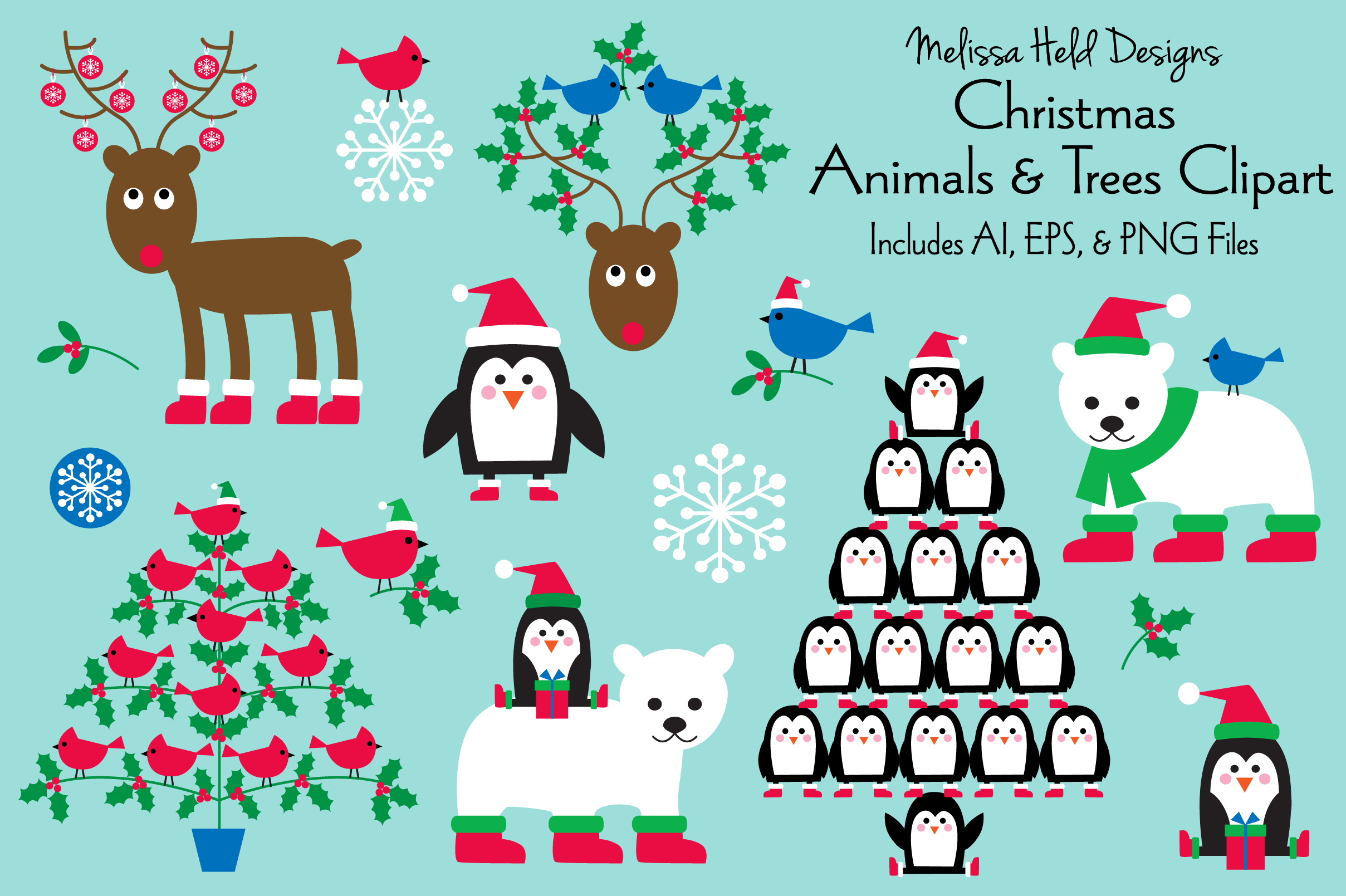 Christmas Animals Trees Clipart By Melissa Held Designs