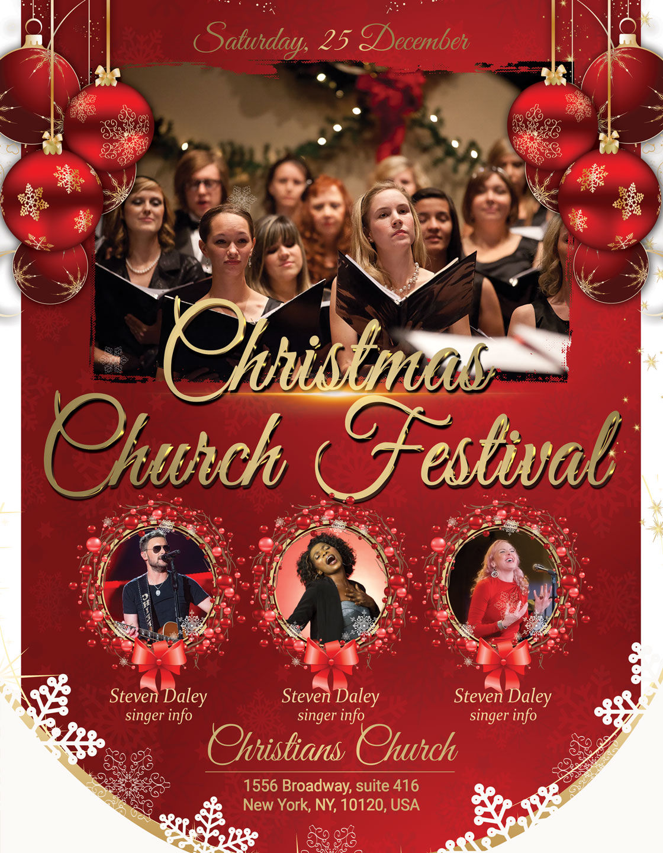 Christmas Church Festival Flyer Poster By Artolus Thehungryjpeg Com
