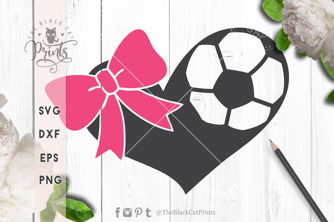 Soccer Hearts Bow Svg Dxf Eps Png By Theblackcatprints