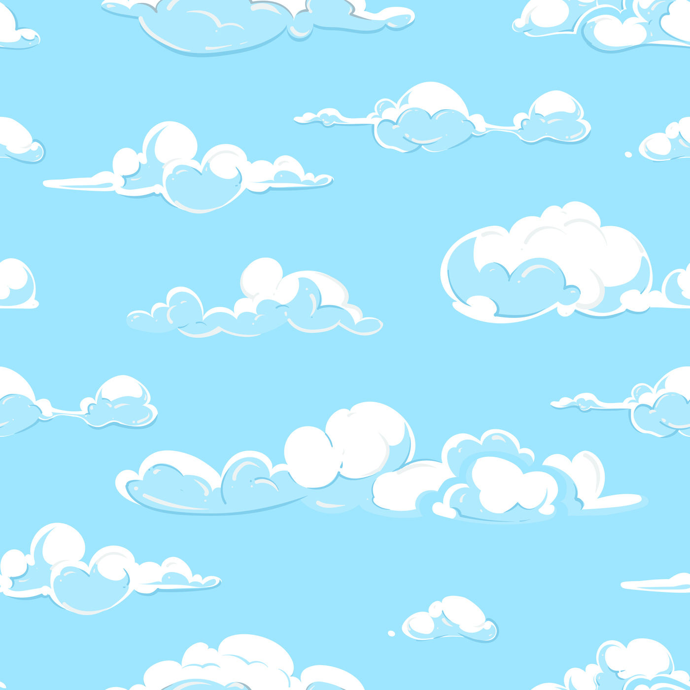 Cartoon Vector Clouds Weather Seamless Pattern In Pastel Colors By