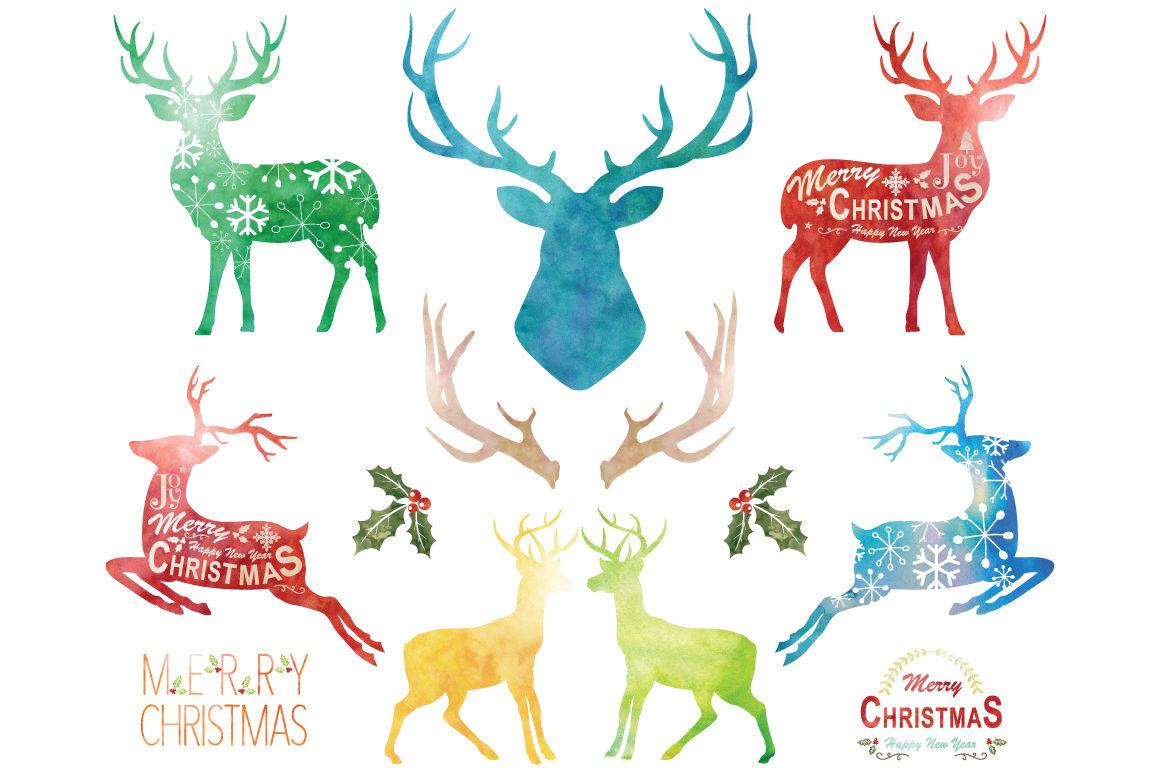 Watercolor Christmas Reindeer Set By Yenzarthaut Thehungryjpeg Com