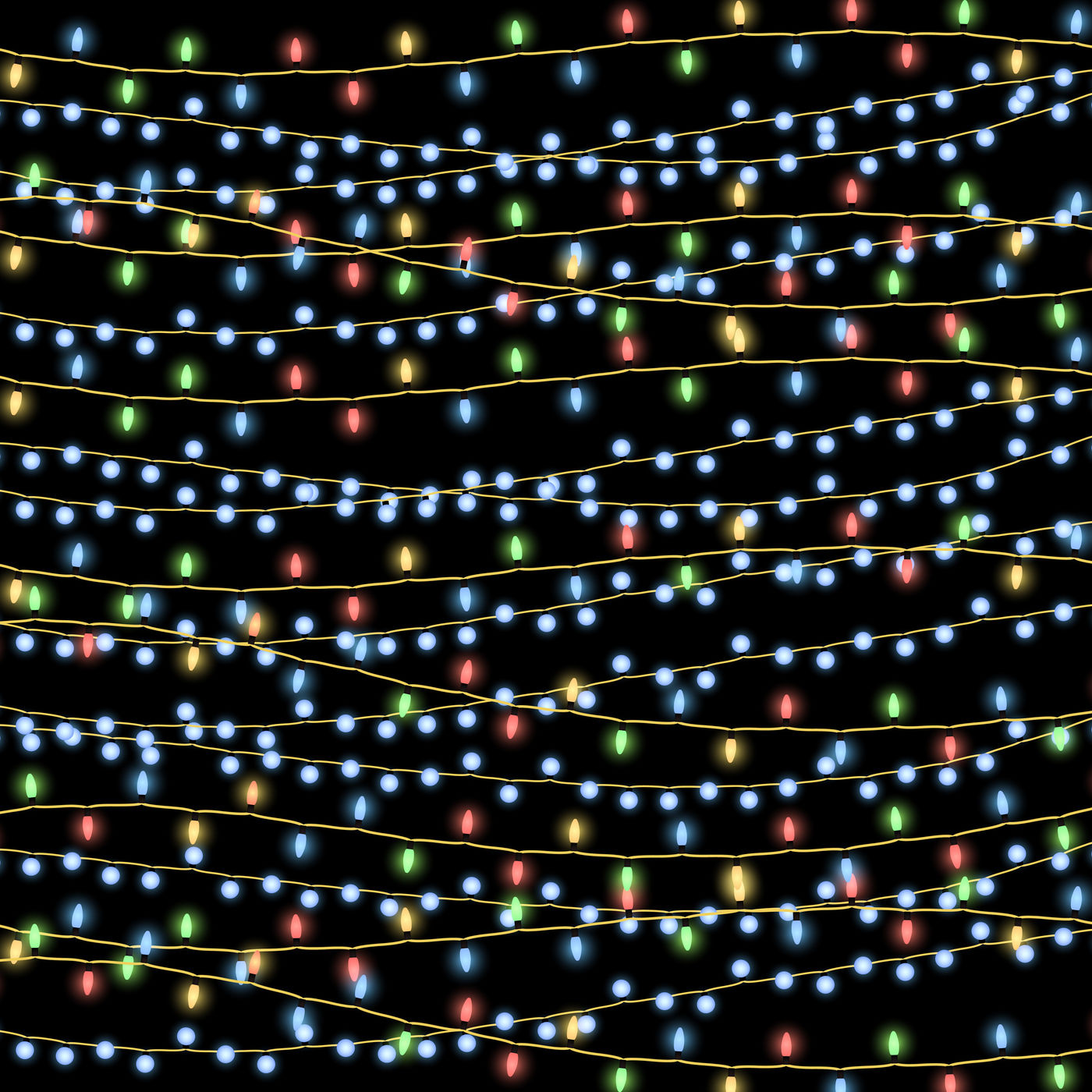 Glowing Christmas Garlands Vector Background By Microvector