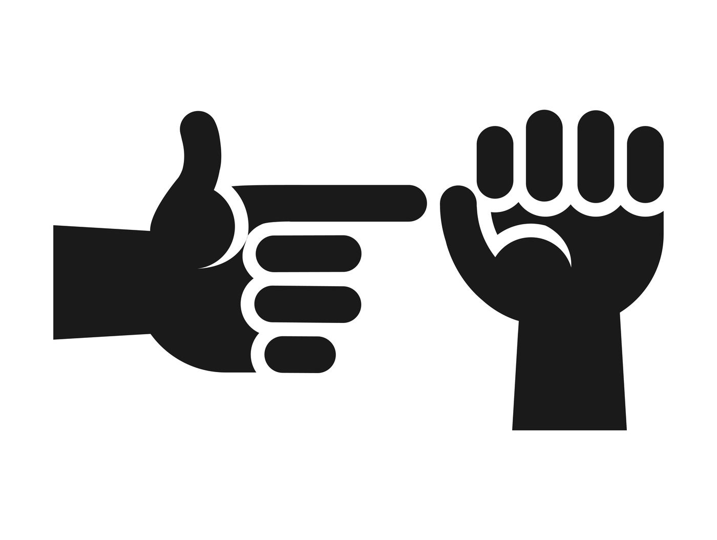 Hands Showing Sex Gesture Icon In Black White By Microvector