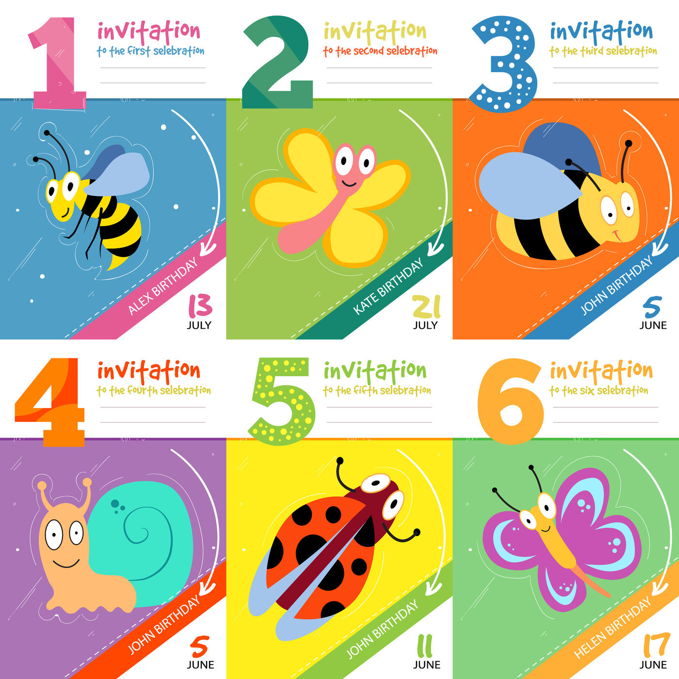 Kids Birthday Invitation Cards With Cute Bugs Insects Vector Set