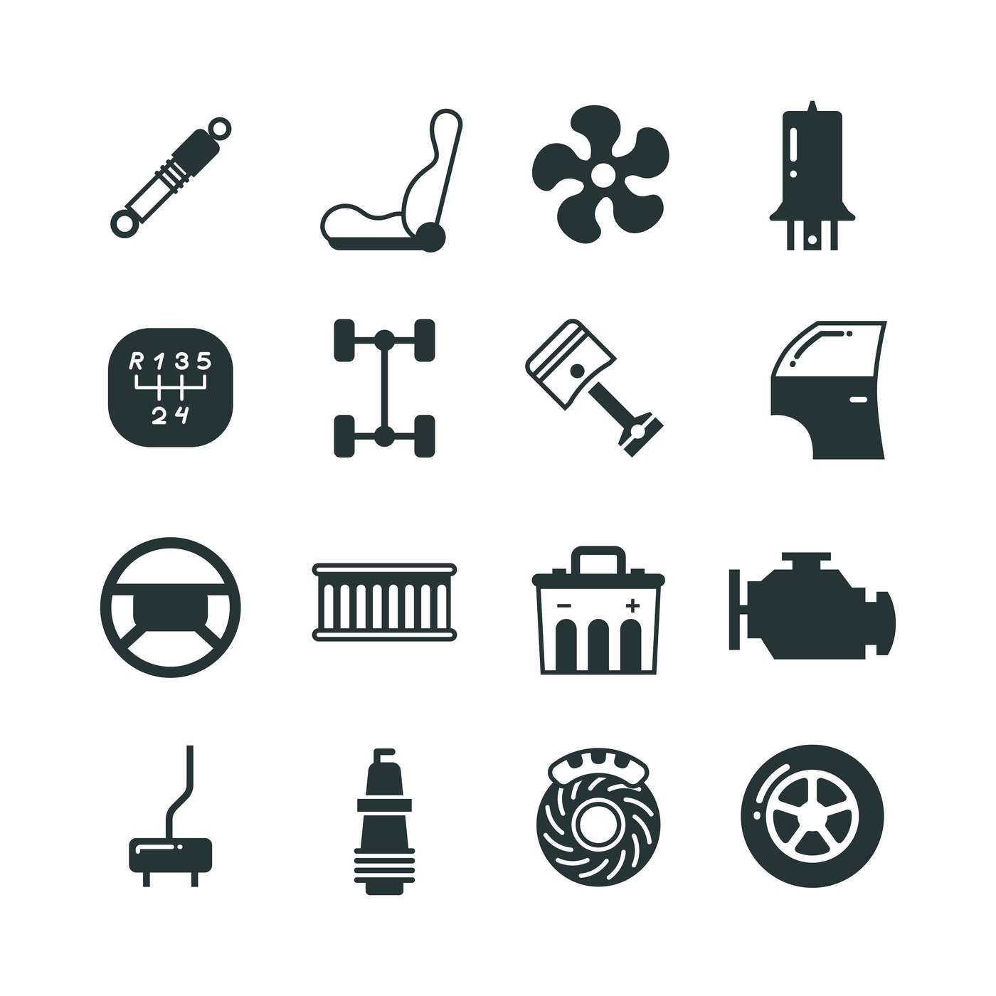Car Parts Mechanic Vector Icons Set By Microvector Thehungryjpeg Com