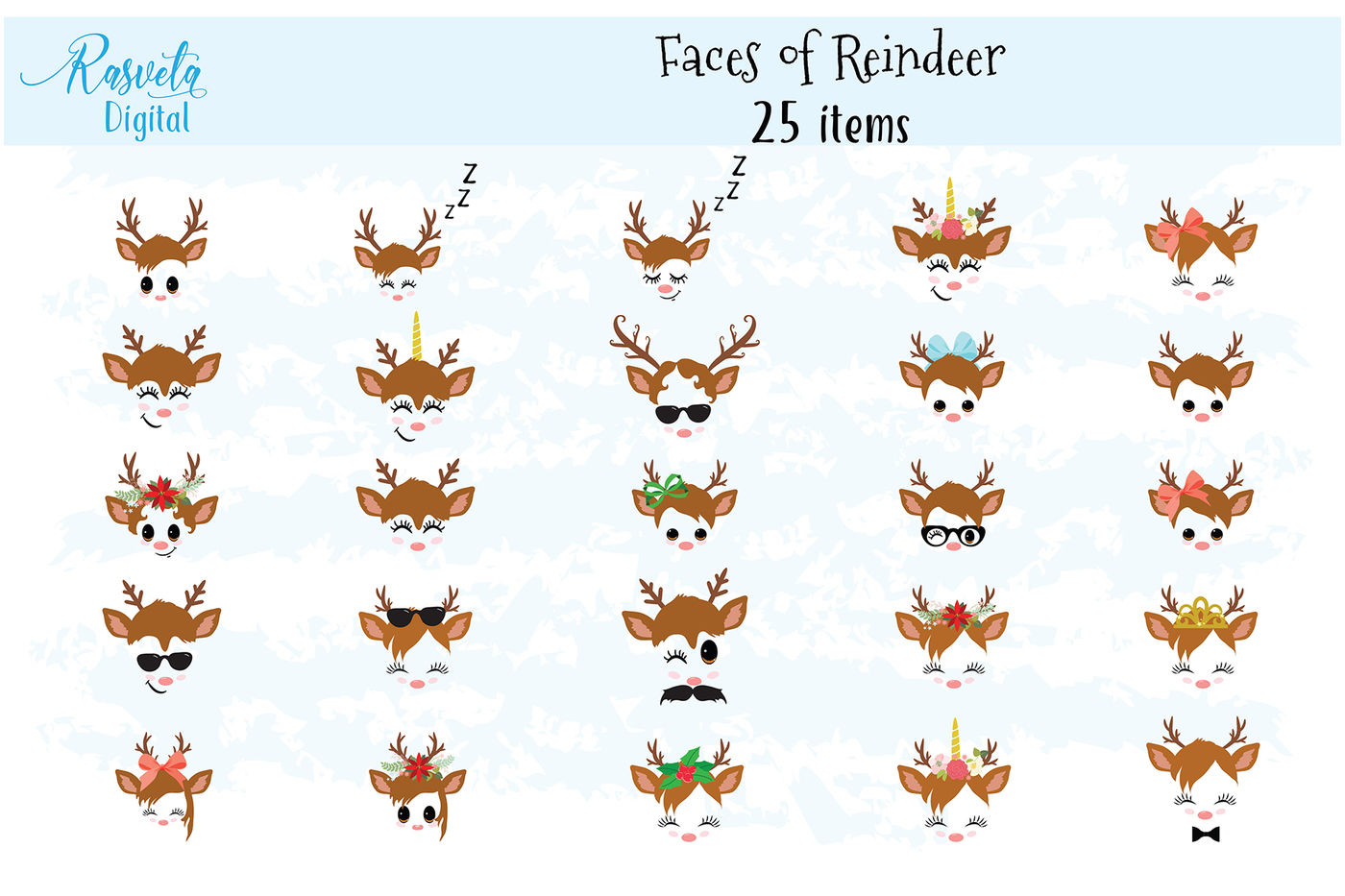 Christmas Decor Reindeer Faces Svg Clipart Set 1 By Rasveta