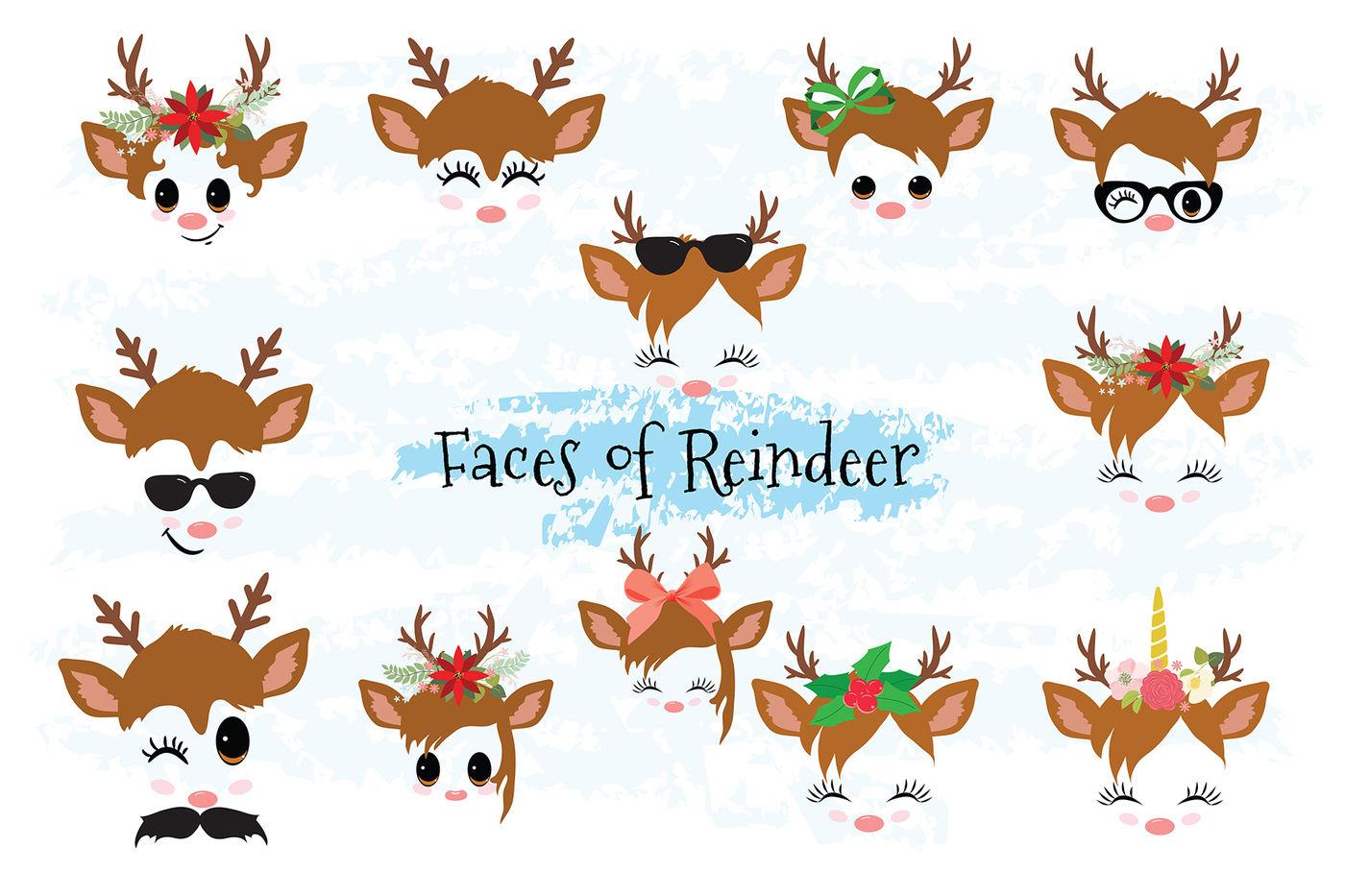 Christmas Decor Reindeer Faces Svg Clipart Set 1 By Rasveta