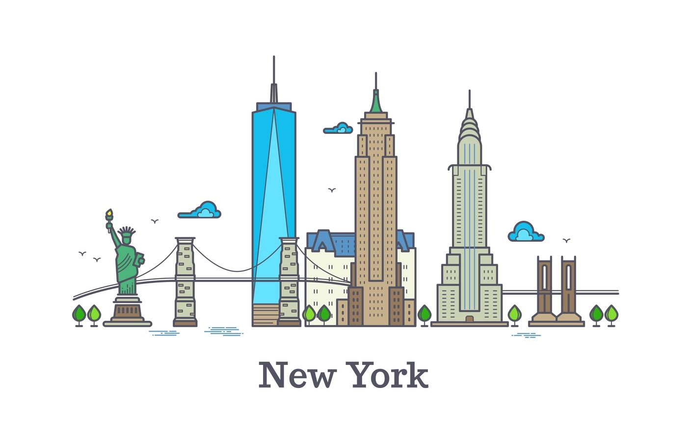 New York Line Vector Symbol Nyc Silhouette Outline Panorama