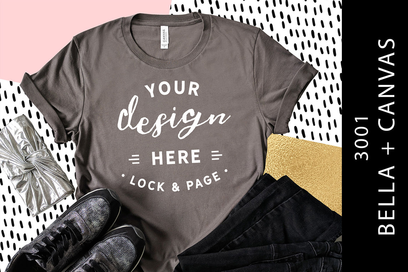 b8eed3559 Asphalt Bella Canvas 3001 Feminine T-Shirt Mockup By Lock and Page ...