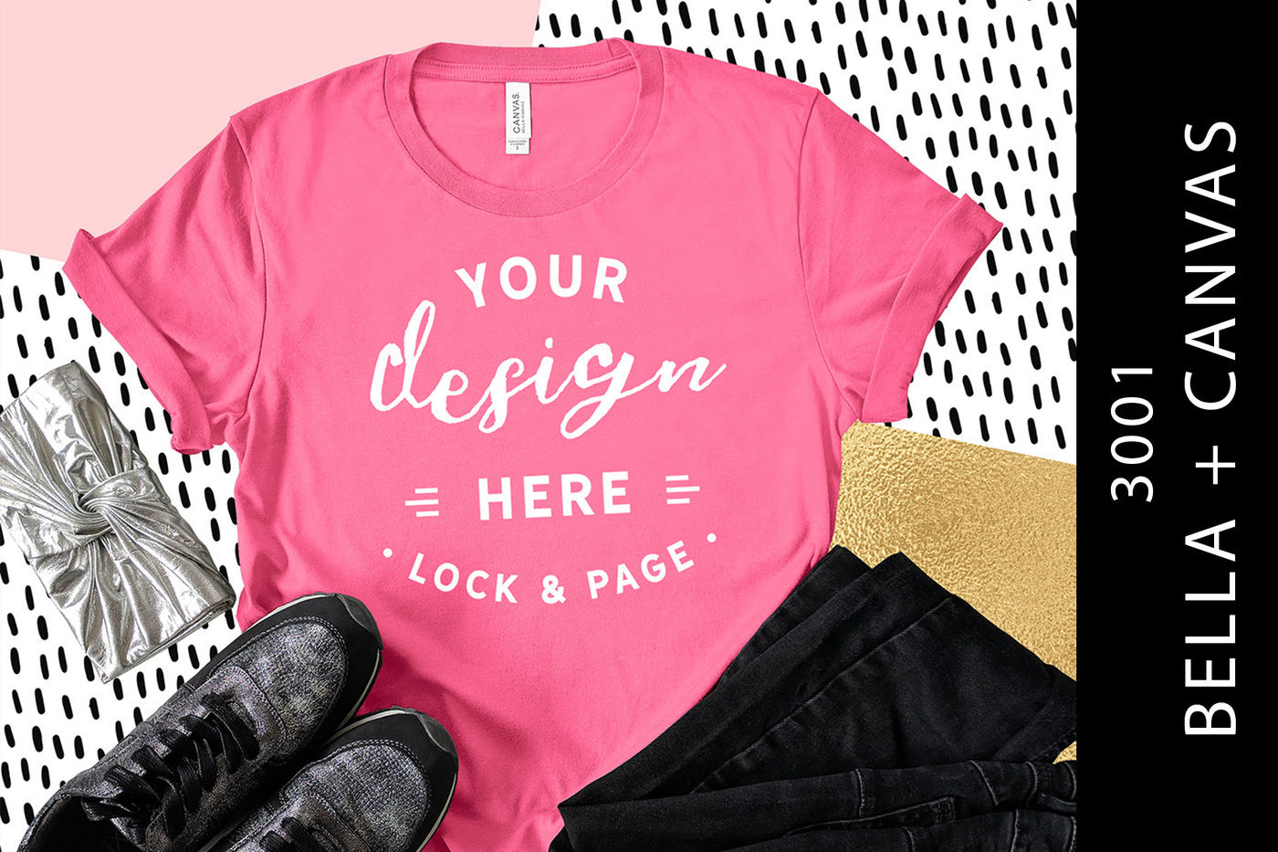 9a3634a452f84 Charity Pink Bella Canvas 3001 Cute Girls T-Shirt Mockup By Lock and ...