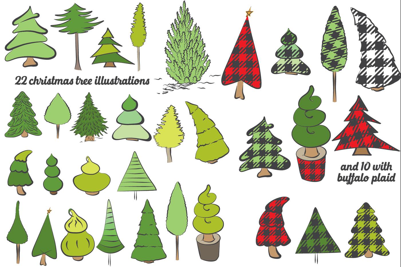 Buffalo Plaid Christmas Trees Vector Svg Eps By Dyrabyra