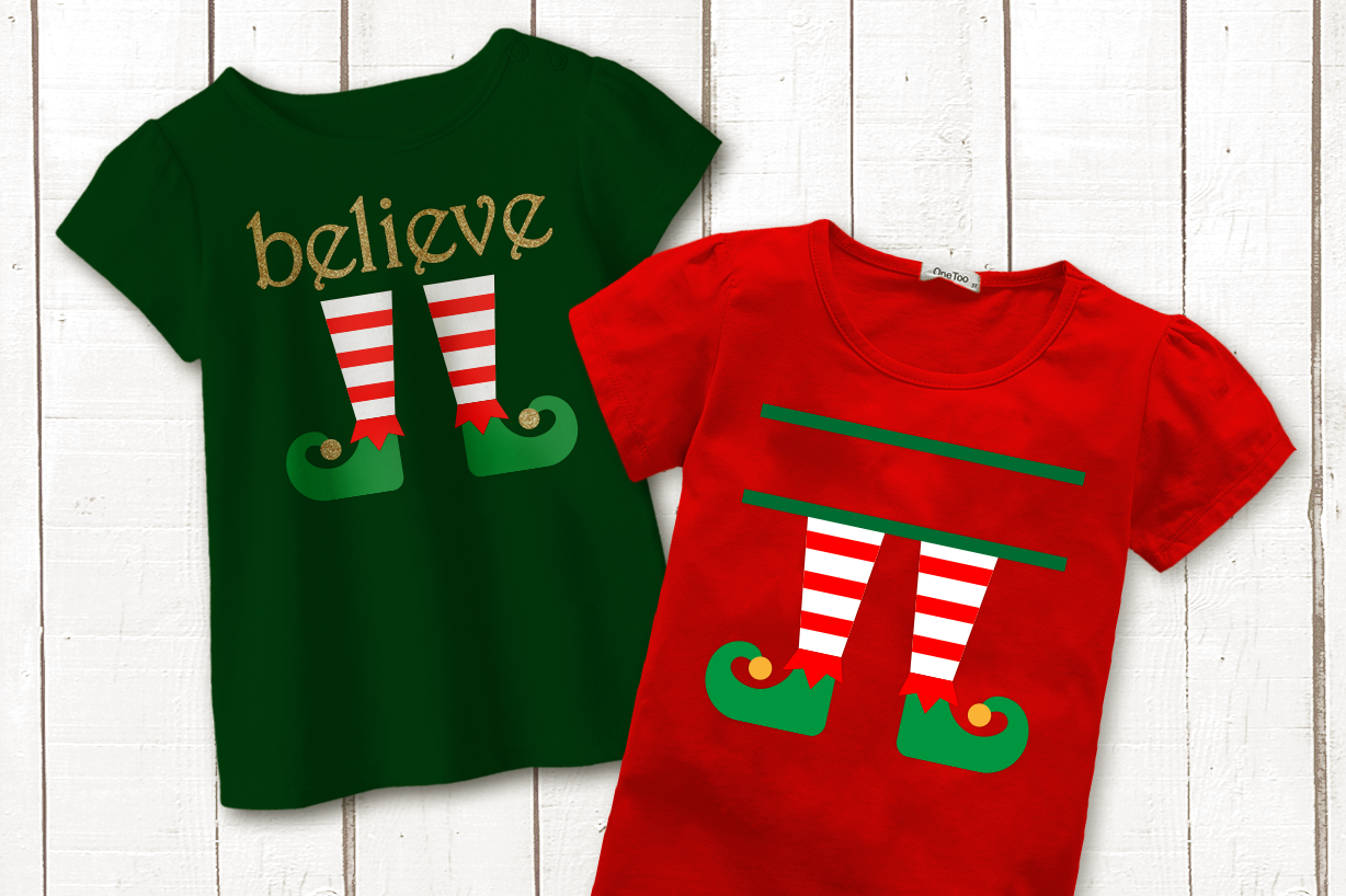 Christmas Elf Legs Split Believe Svg Png Dxf By Designed By