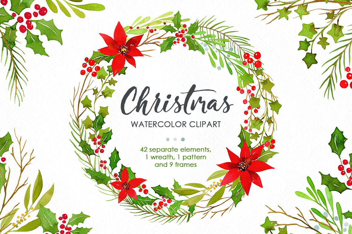 Watercolor Christmas Greenery Leaves Branches Png By