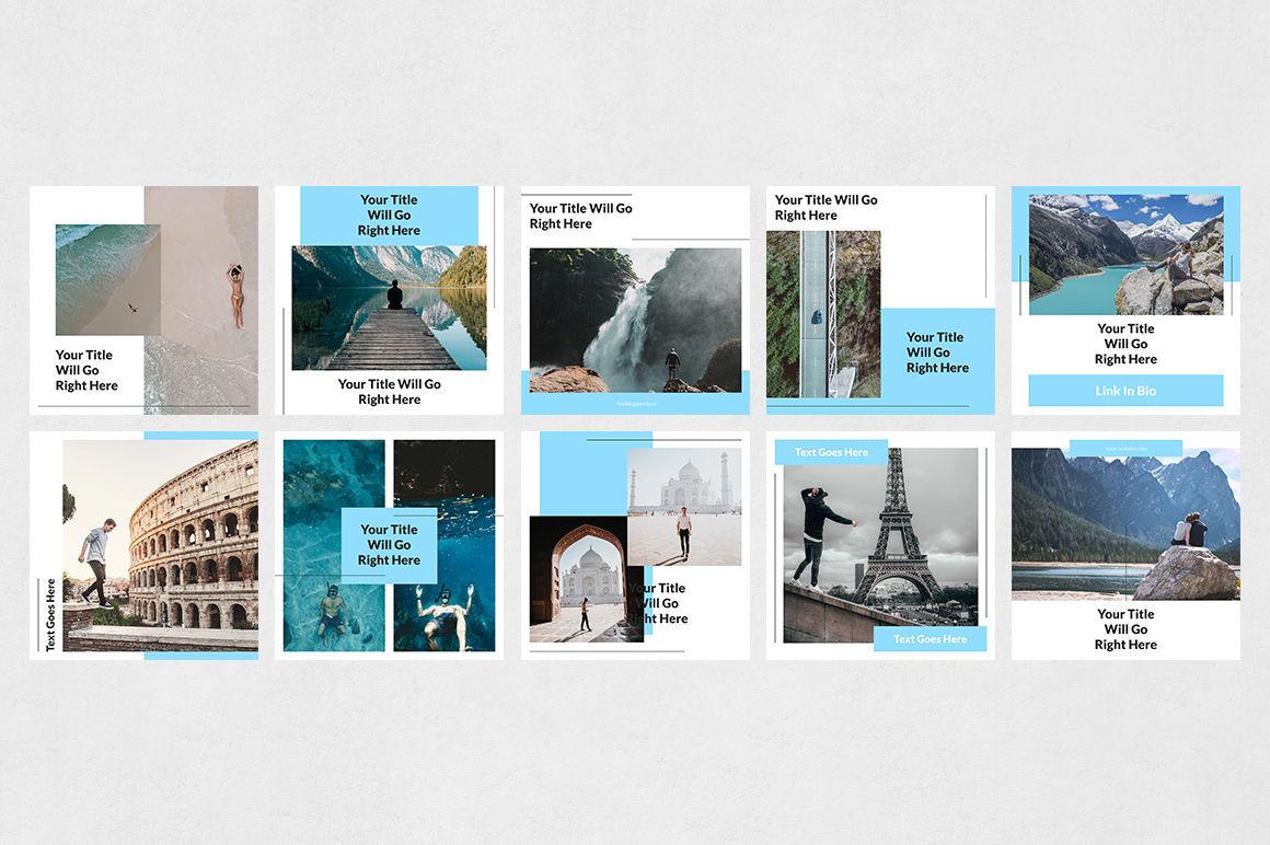 Travel Instagram Posts By Social Corner Graphics Thehungryjpeg Com
