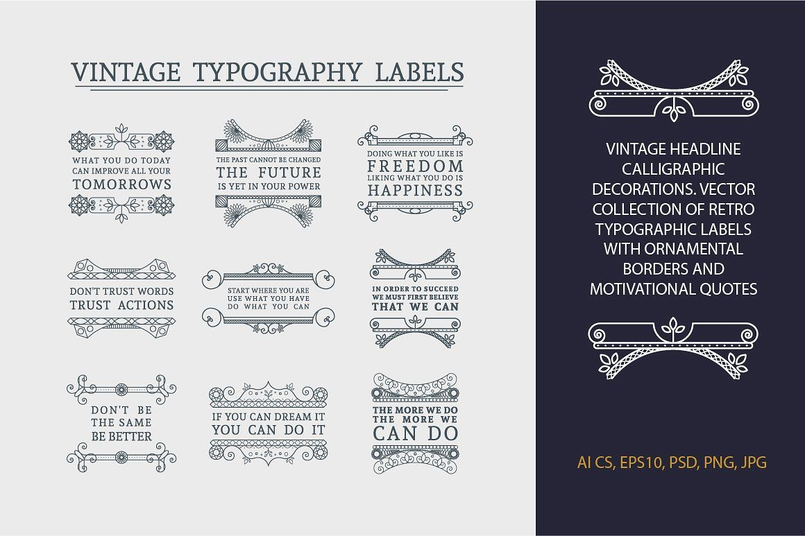 Vintage Headline Calligraphic Labels By Dacascas Thehungryjpeg Com