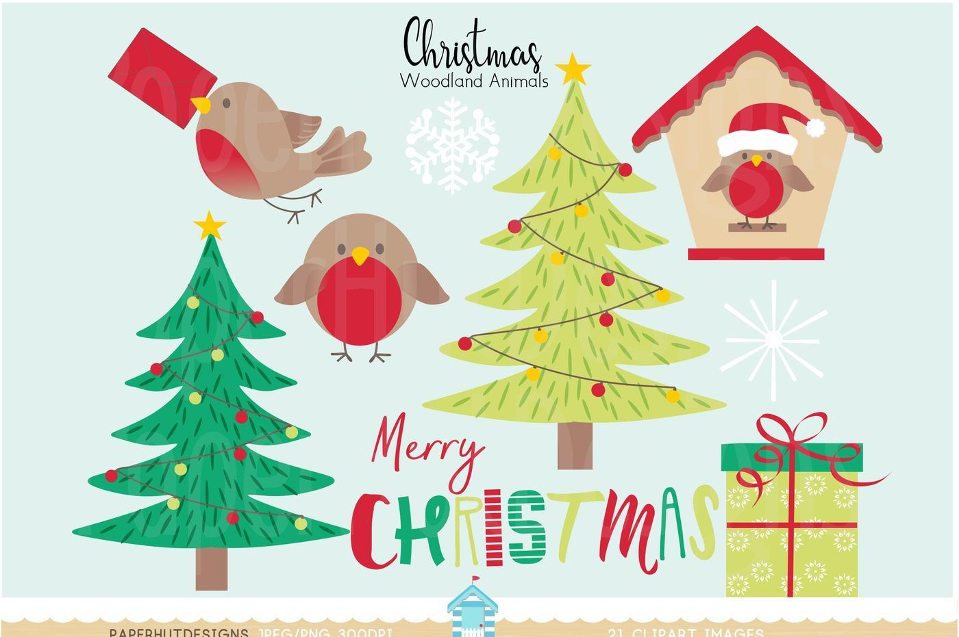 Christmas Woodland Animals Clipart By Paperhutdesigns